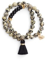 Women's Love's Affect Set Of 2 Semiprecious Stone Tassel Bracelets