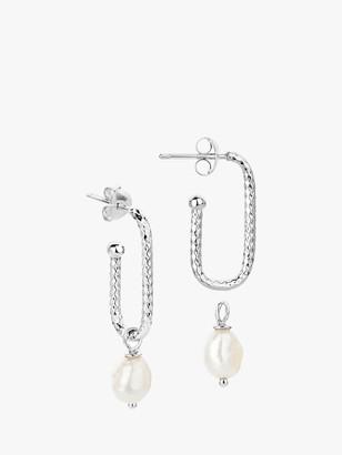 Claudia Bradby Textured Rectangular Pearl Drop Earrings, Silver