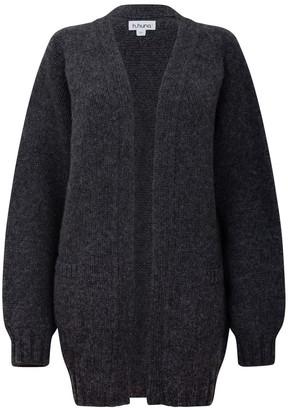 H.Huna Longline Grey Boyfriend Cardigan in a Chunky Knit