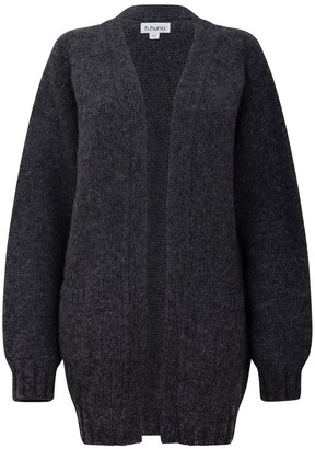 Longline Grey Boyfriend Cardigan in a Chunky Knit
