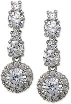 Nina Silver-Tone Cubic Zirconia Double Drop Earrings