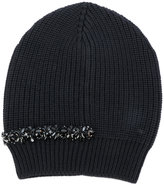 No.21 embellished ribbed beanie - women - Silk/Virgin Wool/metal/glass - One Size