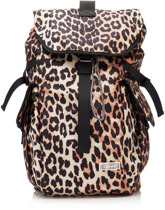 Ganni Leopard-Print Shell Backpack