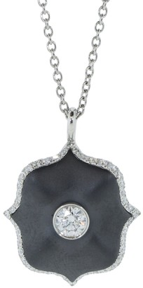 Bayco Black Ceramic and Diamond Mini Lotus Necklace