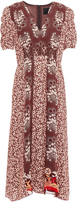 Anna Sui Paneled Printed Silk-chiffon And Crepe Midi Dress