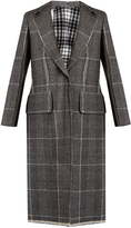 Calvin Klein Collection Leather-panel checked wool coat