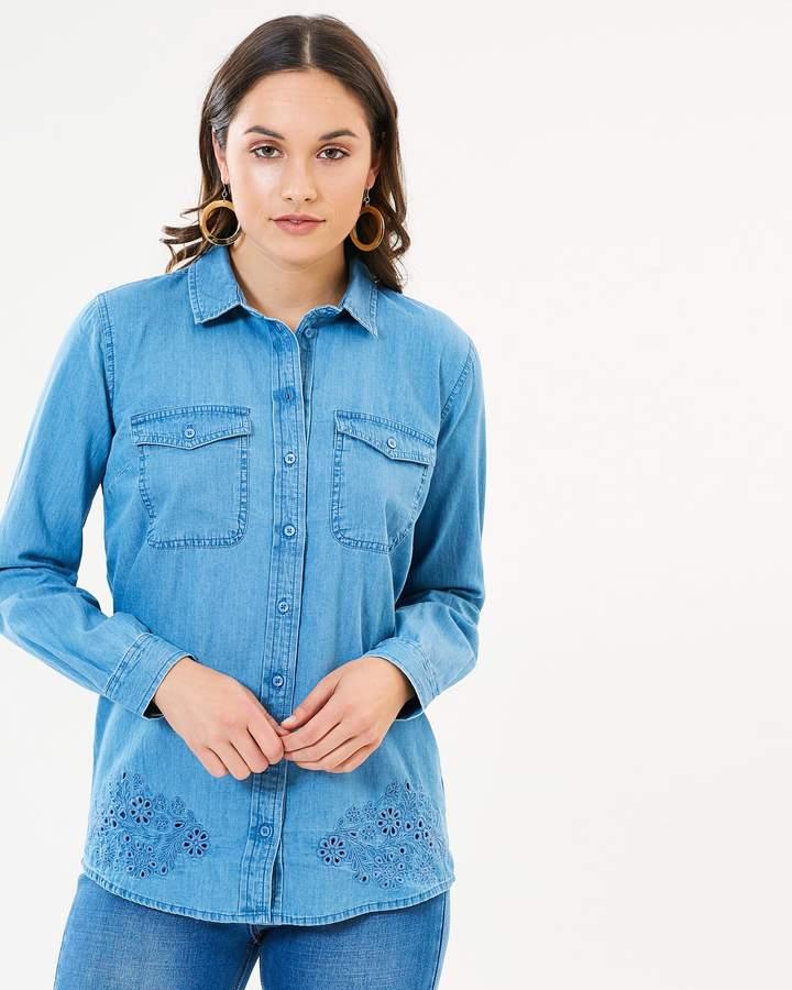 Dorothy Perkins Broderie Hem Shirt