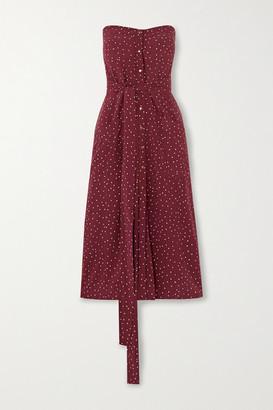 Vix Lola Nara Strapless Polka-dot Poplin Midi Dress - Burgundy