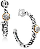 Effy Balissima by Diamond Accent Two-Tone Hoop Earrings in Sterling Silver and 18k Gold