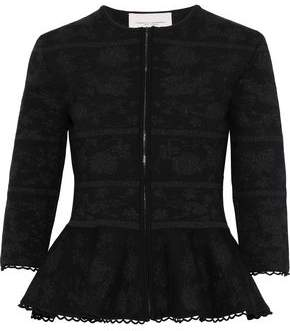 Carolina Herrera Metallic Wool-blend Jacquard Peplum Jacket