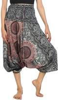 Lofbaz Women's Smocked Waist Rose Pattern 2 in 1 Harem Pants Jumpsuit White L