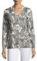 Neiman Marcus Superfine Lily Paisley V-Neck Cardigan