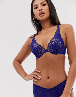 Wonderbra Refined Glamour lace triangle bra in blue
