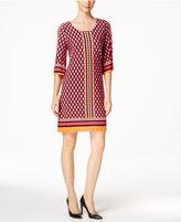 Calvin Klein Petite Geo-Print Bell-Sleeve Jersey Dress
