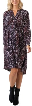 Belldini Women's Black Label Printed High-Low Button Front Long Sleeve Dress
