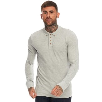 Brave Soul Mens Lincoln Long Sleeve Polo Sport Marl