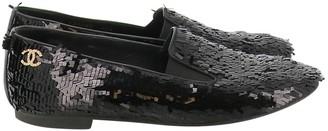 Chanel Black Glitter Flats