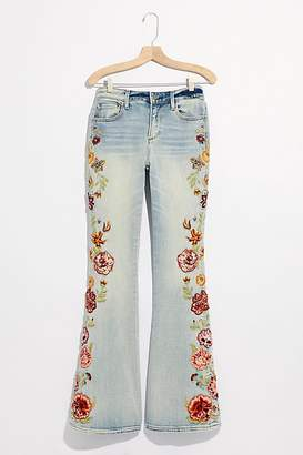 Driftwood Farrah Embroidered Flare Jeans by at Free People, Spicey Mango, 27