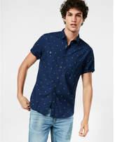 Express dotted short sleeve cotton dress shirt