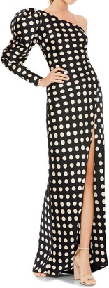 Mac Duggal One Shoulder Polka Dot Sheath Gown
