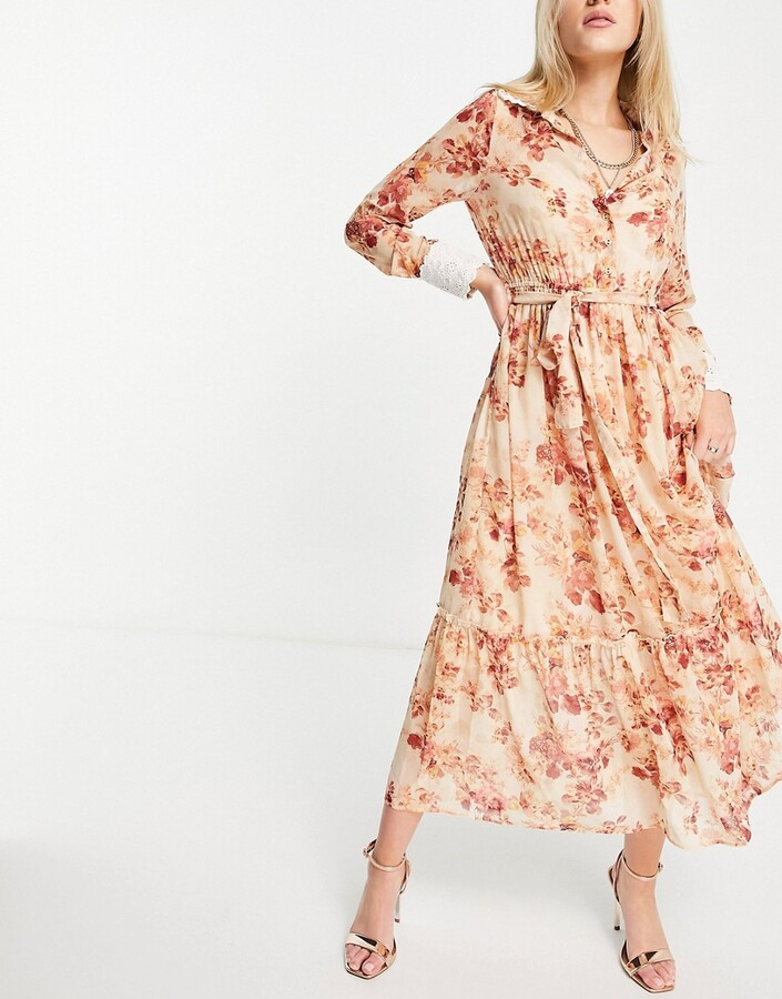 Thumbnail for your product : Hope & Ivy maxi dress with wrap tie and drop hem in blush floral