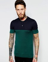 Asos Color Block Knitted Polo