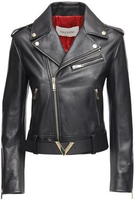 Valentino V Logo Leather Biker Jacket