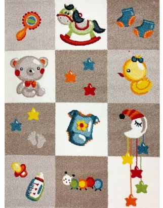 """KC Cubs Boy and Girl Bedroom Modern Decor Area Rug and Carpet Collection For Kids and Children (3' 11"""" x 5' 3"""", Nursery Bedtime Teddy Bear)"""