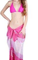 HERRICO Women Beach Wrap Sarong Pareo Cover up Swimwear Bikini Floral Pattern Chiffon Shawl