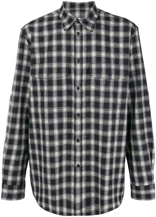 Givenchy plaid curved hem shirt