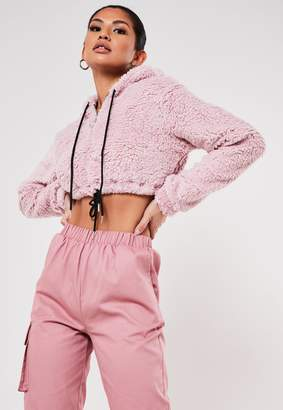 Missguided Blush Borg Teddy Cropped Hoodie