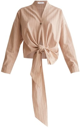 Paisie Striped Wrap Blouse With Tie Waist In Nude & Brown