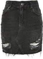 Topshop MOTO Ripped Denim Mini Skirt
