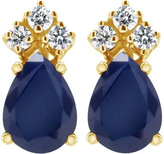 14K Pear Shaped Gemstone & 1/10 cttw Diamond Earrings