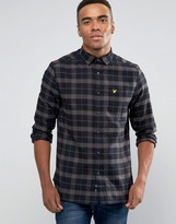Lyle & Scott Check Flannel Shirt Buttondown In Regular Fit In Black