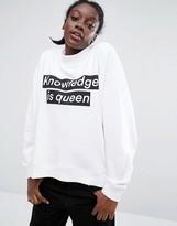 Monki Logo Funnel Neck Sweatshirt Sweater
