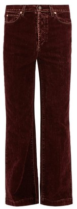 Gucci Faded Flocked Flared-leg Jeans - Burgundy