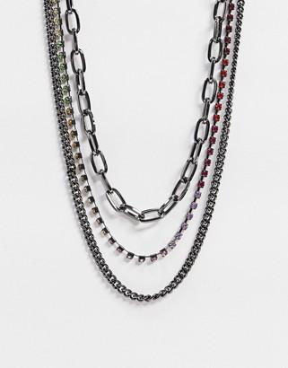 Uncommon Souls layered neckchains in gunmetal with rainbow diamante chain
