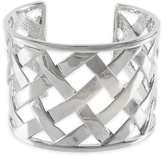 Kenneth Jay Lane BASKET WEAVE CUFF BRACELET- STERLING SILVER PLATE