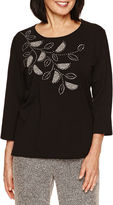 Alfred Dunner Wrap It Up 3/4 Sleeve Crew Embroidery Top