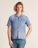 John Elliott Petrol Button Front Short Sleeve Shirt