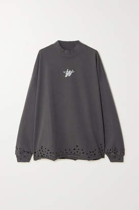 we11done Oversized Printed Distressed Cotton-jersey Top - Charcoal