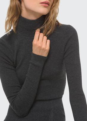 Michael Kors Long-Sleeve Wool Turtleneck Bodysuit