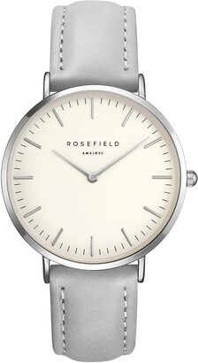 ROSEFIELD Women's Watch The Bowery White Dial Grey Strap Silver Round Case BWGS-B10