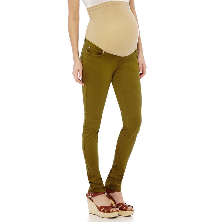 Asstd National Brand Maternity Overbelly Colored Skinny Pants - Plus