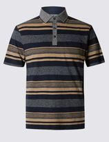 Marks and Spencer Cotton Rich Stripped Polo Shirt