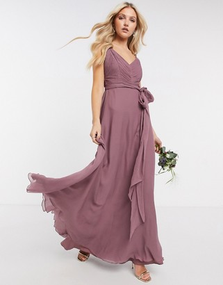 ASOS DESIGN Bridesmaid cami maxi dress with ruched bodice and tie waist in dusty mauve