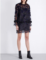 Sacai Embroidered-patches organza dress