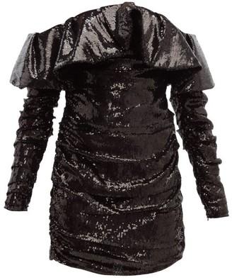 ATTICO Off-the-shoulder Sequinned Mini Dress - Black