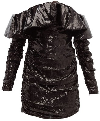 ATTICO The Off-the-shoulder Sequinned Mini Dress - Womens - Black